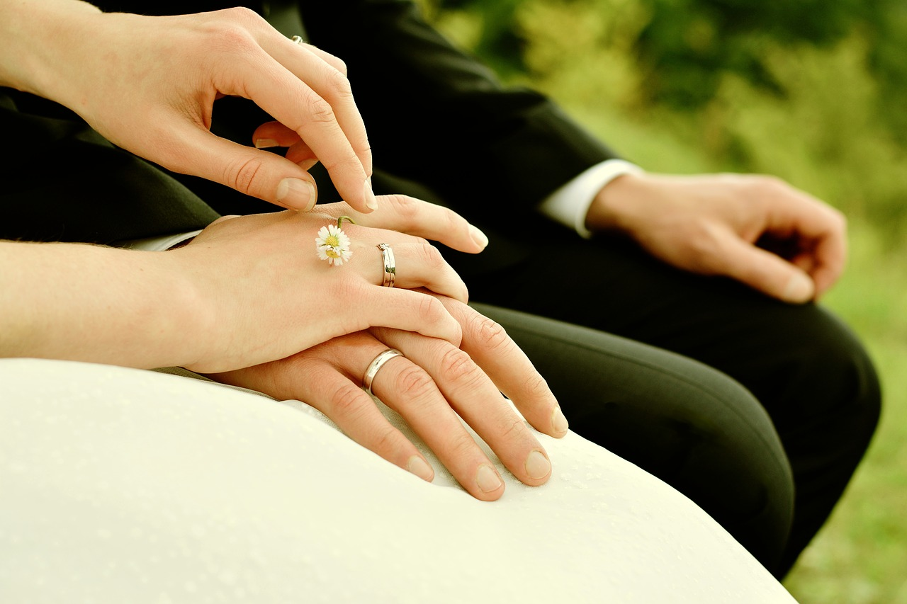 hands, bride and groom, rings