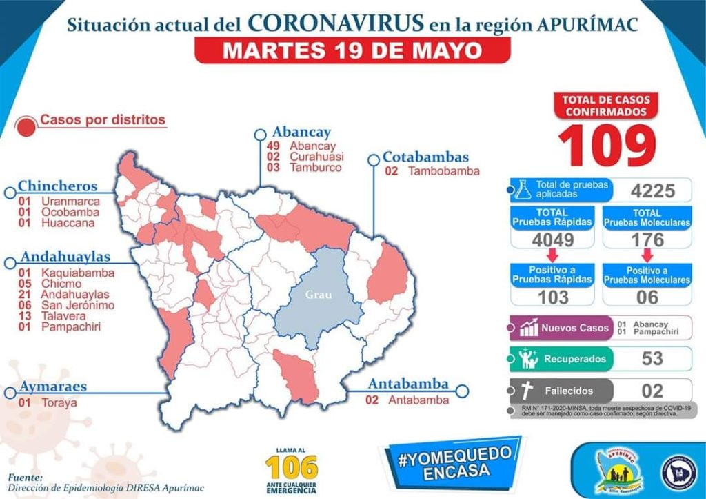 mappa del contagio in Apurimac