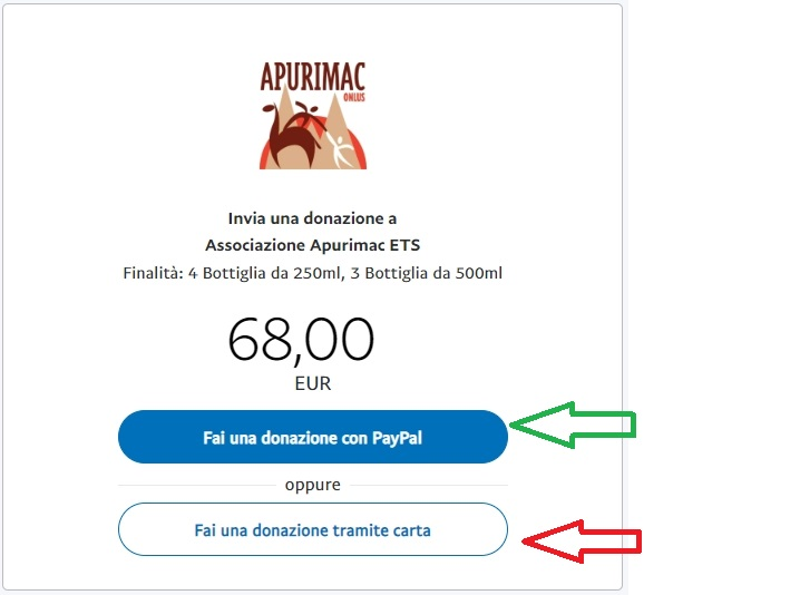 Apurimac ETS - Emergenza Covid-19 Peru- Carta Credito PayPal